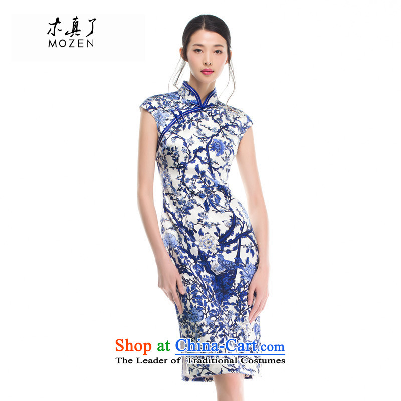 Wood, an improved cheongsam dress really summer Silk Cheongsam 2015 skirt sauna Silk Dresses Build_ 53326 10 retro Sau San blue聽L