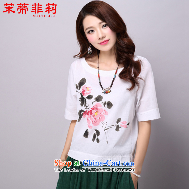 Energy Tifi Li improved female summer Han-new stamp short-sleeved T-shirt cotton linen white?L t-shirt