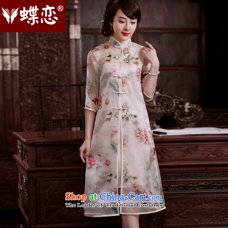 The Butterfly Lovers flowers?fall 2015 new upscale, silk Chinese Tang blouses, two kits light jacket milky white?L