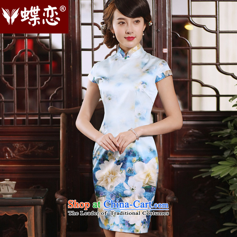 The Butterfly Lovers�15 new dresses qipao short of summer daily short-sleeved stylish improved Silk Cheongsam figure燲XL
