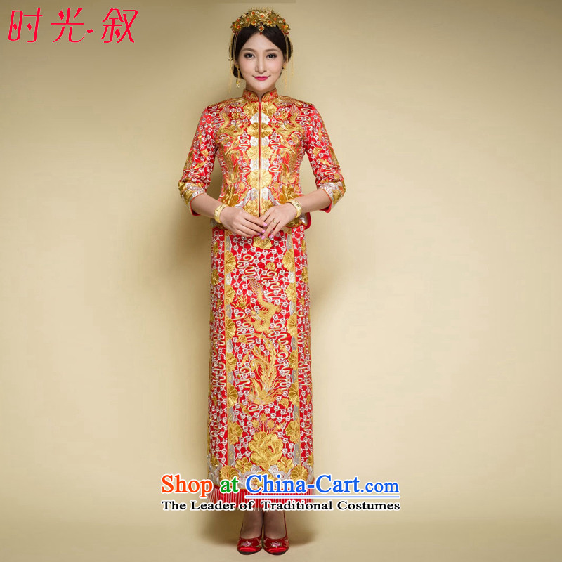 Time the爊ew 2015 Syria Big Five Dragon Well use Chinese style wedding dress that use marriages bows to the autumn and winter retro-soo Wo Service dress embroidery red燬