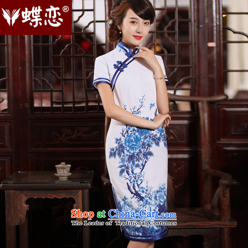 The Butterfly Lovers 2015 Summer new improved stylish long cheongsam dress retro Sau San porcelain cotton linen dresses 54249 short-sleeved聽L