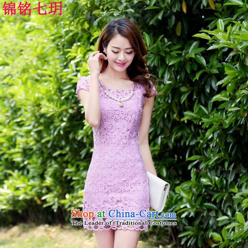 Kam Ming Yue seven new women's small-wind video Tang dynasty thin lace cheongsam dress short-sleeved summer Korean stylish package and cultivating the temperament light purple燣