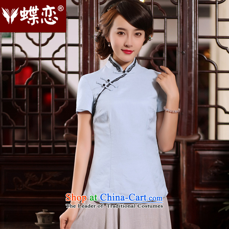 The Butterfly Lovers�2015 Summer new ethnic improved qipao Han-T-shirt China wind cotton linen, Tang dynasty cool blue�L