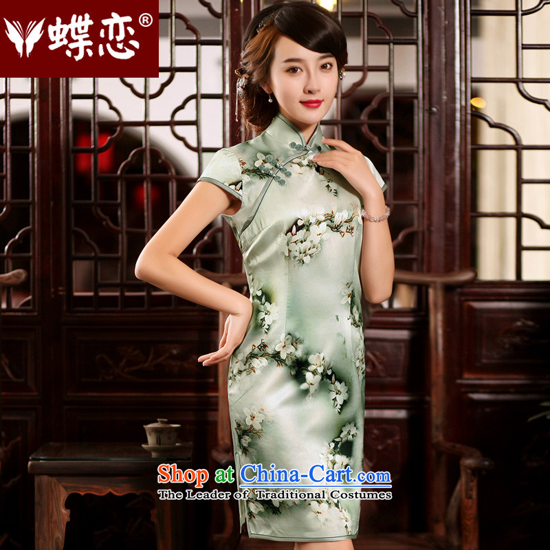 The Butterfly Lovers?2015 Summer new retro dresses upscale silk stylish improved short of daily cheongsam dress figure?XXL