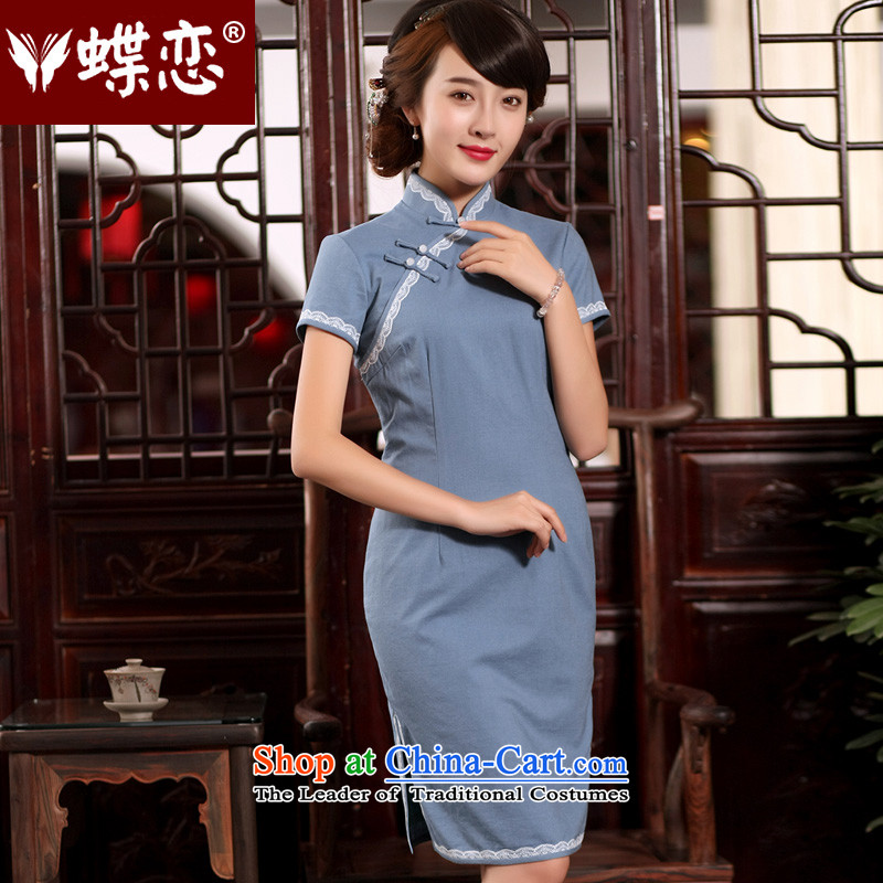 The Butterfly Lovers?2015 Summer new retro Tang Gown cheongsam dress improved stylish daily Sau San cotton linen dresses 55265 figure?XXL