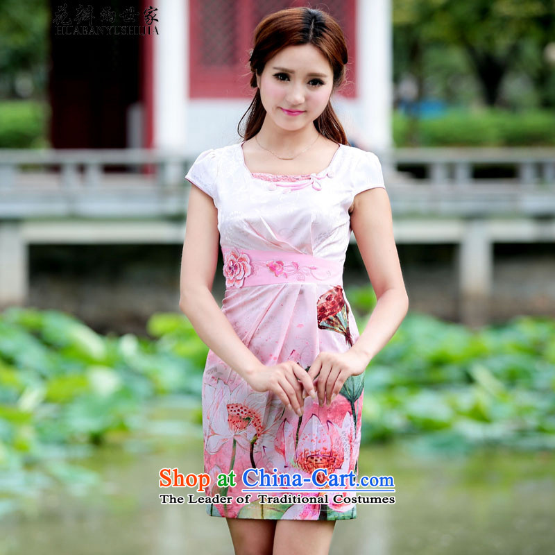 Rain saga _2015 petals female new peacock qipao gown daily Chinese improvements retro style qipao_ Mr Ronald short skirt pink XL