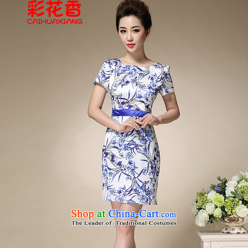 The fragrance of? 2015 Sau San summer multimedia female porcelain stamp Foutune of graphics load mother qipao thin?blue?XXXL 8991
