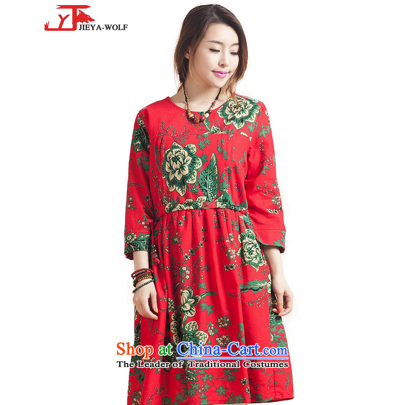 New JIEYA-WOLF, Tang dynasty women 7 cuff spring and summer fall in cotton linen skirt Fashion in Ms. long skirt, hit the mine will see red Details Table