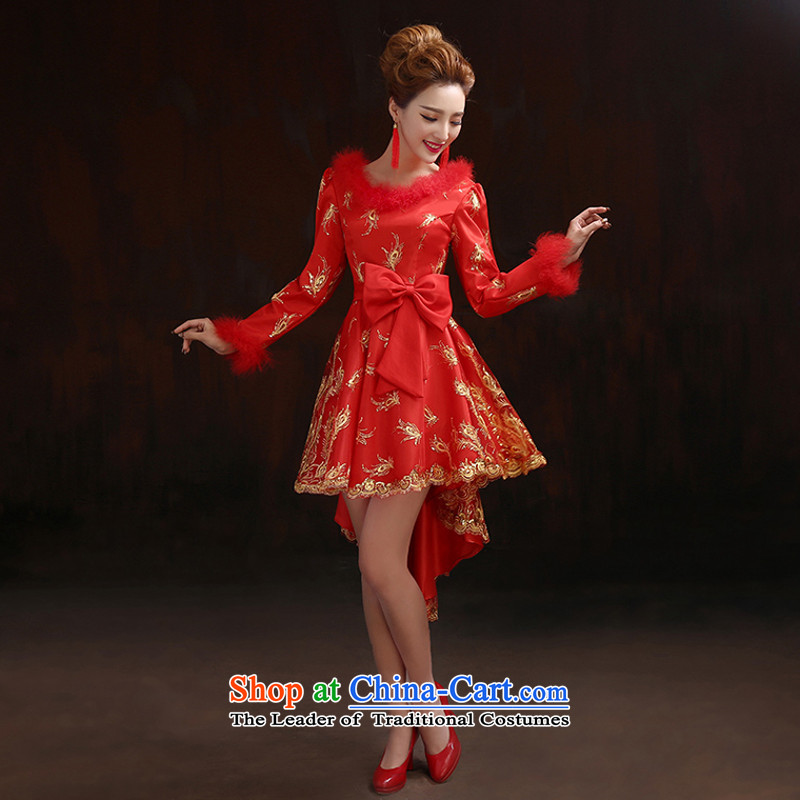 Pure Love bamboo yarn of autumn and winter jackets qipao cotton waffle red toasting champagne plus services bows Dress Short qipao qipao Sau San improved after the former short gown cheongsam red燲L