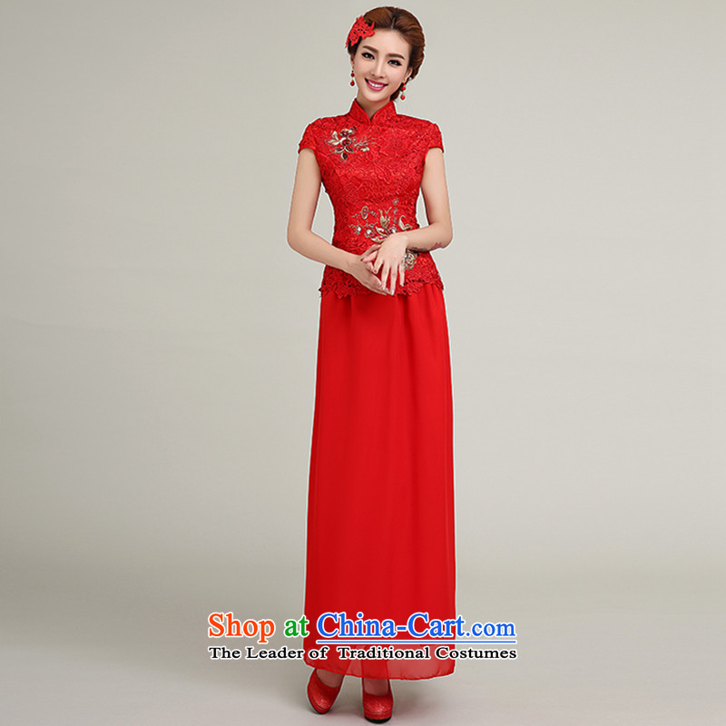 Yi is the spring and summer of 2015, love the new bride services and stylish bows shoulders red bows qipao marriage spring short-sleeved Chinese antique dresses long Sau San Female Red XL