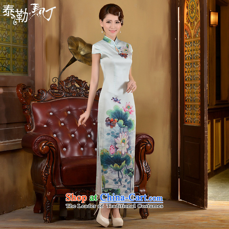 Taylor Martin Taylor Martin 2015 Long of daily qipao spring and summer new retro ethnic Sau San Video Foutune of thin banquet dress cheongsam dress white L