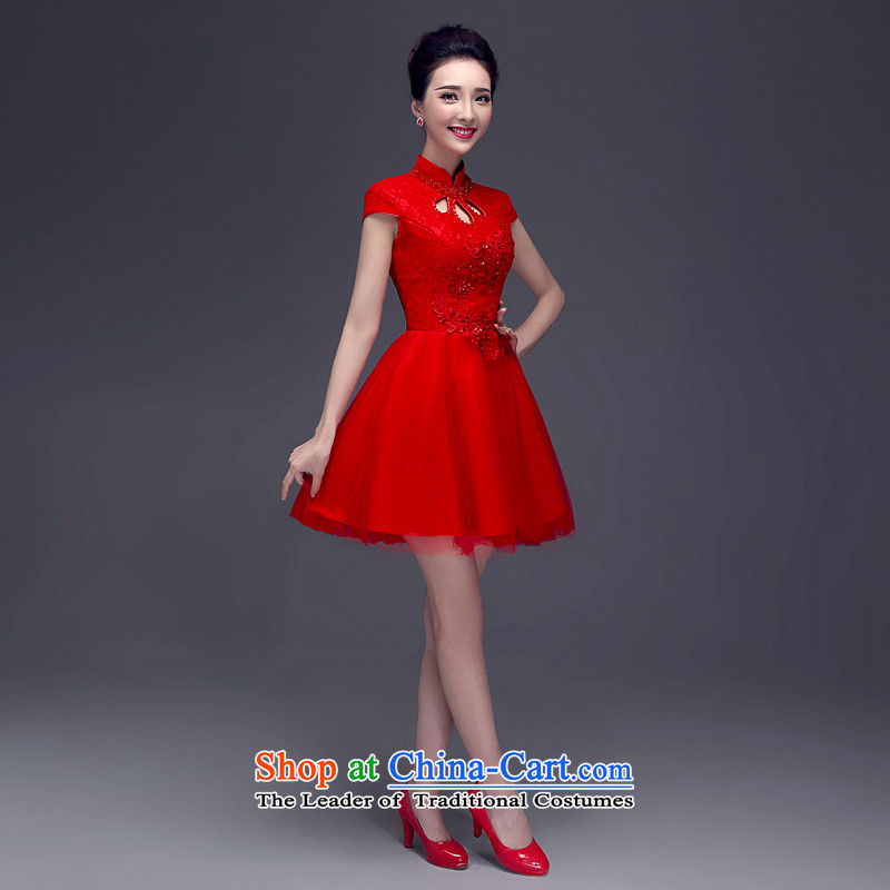 ?The spring and summer of 2015, Connie every new upscale bridal dresses married a drink red short skirts Chinese qipao gown?QP101 improved?red?XL