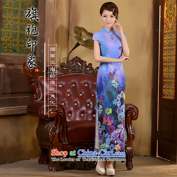 Taylor Martin 2015 Long of daily qipao spring and summer, Stylish retro qipao shirt Sau San Video Foutune of cheongsam dress thin blue聽XL Photo, prices, brand platters! The elections are supplied in the national character of distribution, so action, buy now enjoy more preferential! As soon as possible.