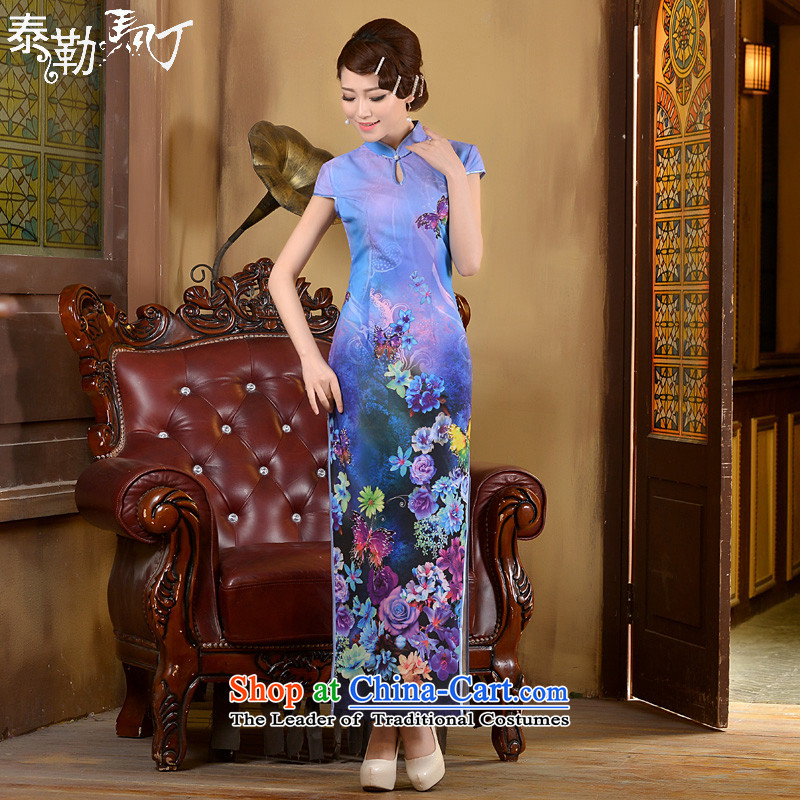 Taylor Martin 2015 Long of daily qipao spring and summer, Stylish retro qipao shirt Sau San Video Foutune of cheongsam dress thin blue聽XL