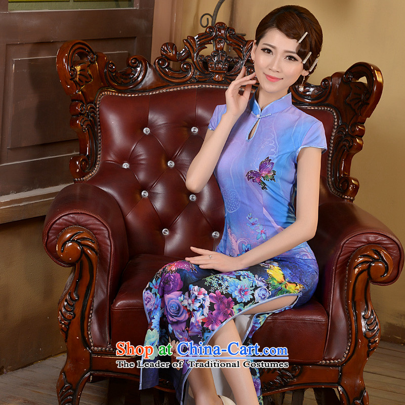 Taylor Martin 2015 Long of daily qipao spring and summer, Stylish retro qipao shirt Sau San Video Foutune of cheongsam dress thin blue聽XL, Martin (TAILEMARTIN Taylor) , , , shopping on the Internet