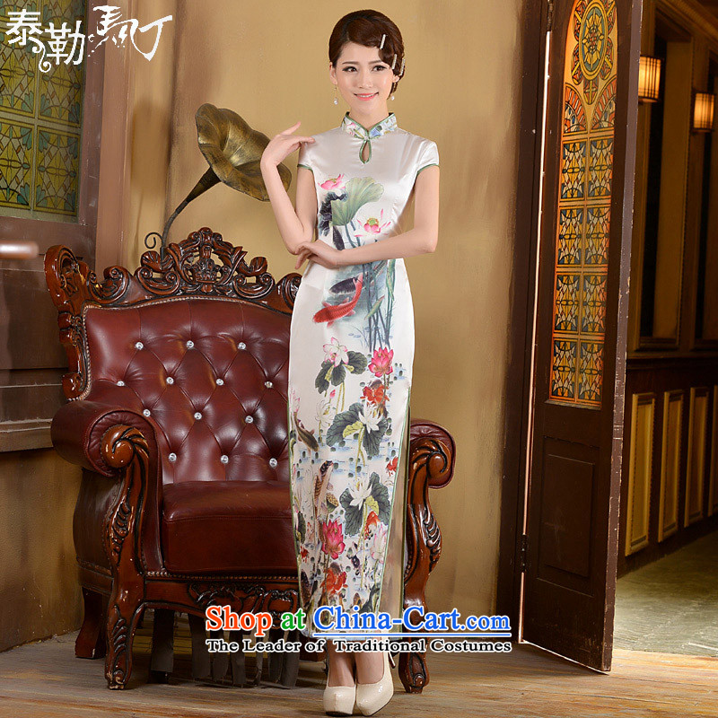 Taylor Martin 2015 long antique dresses and stylish new spring and summer, Sau San video thin foutune temperament short-sleeved white qipao daily�S
