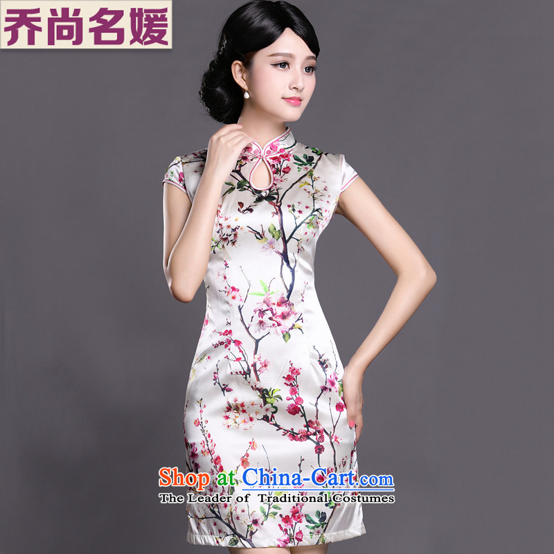 Joe was aristocratic silk summer new short-sleeved improved cheongsam dress ZS025 White聽XL
