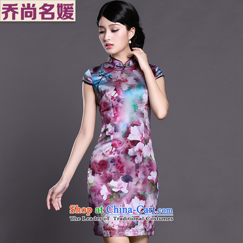Joe was aristocratic Silk Cheongsam summer new improved Tang dynasty ZS029 PURPLE聽XXL