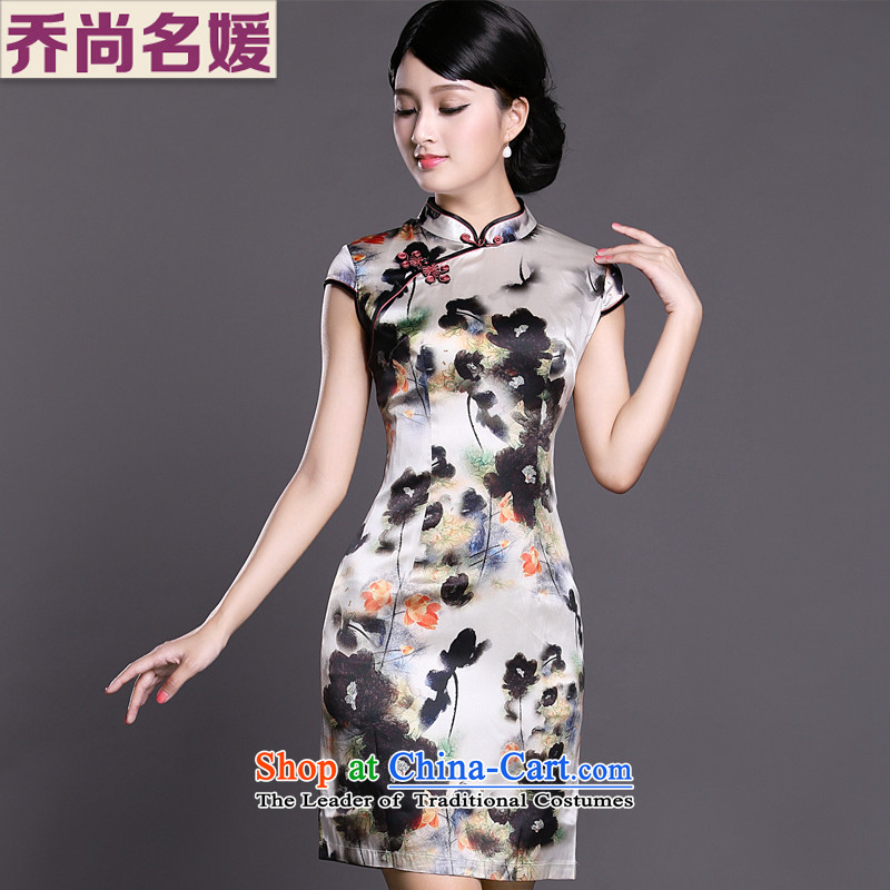 Joe was aristocratic Silk Cheongsam look to improve women's clothes ZS030 Tang White聽XXL