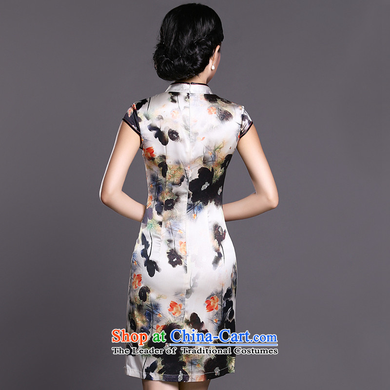 Joe was aristocratic Silk Cheongsam look to improve women's clothes ZS030 Tang white聽XXL,CHOSHAN LADIES,,, shopping on the Internet