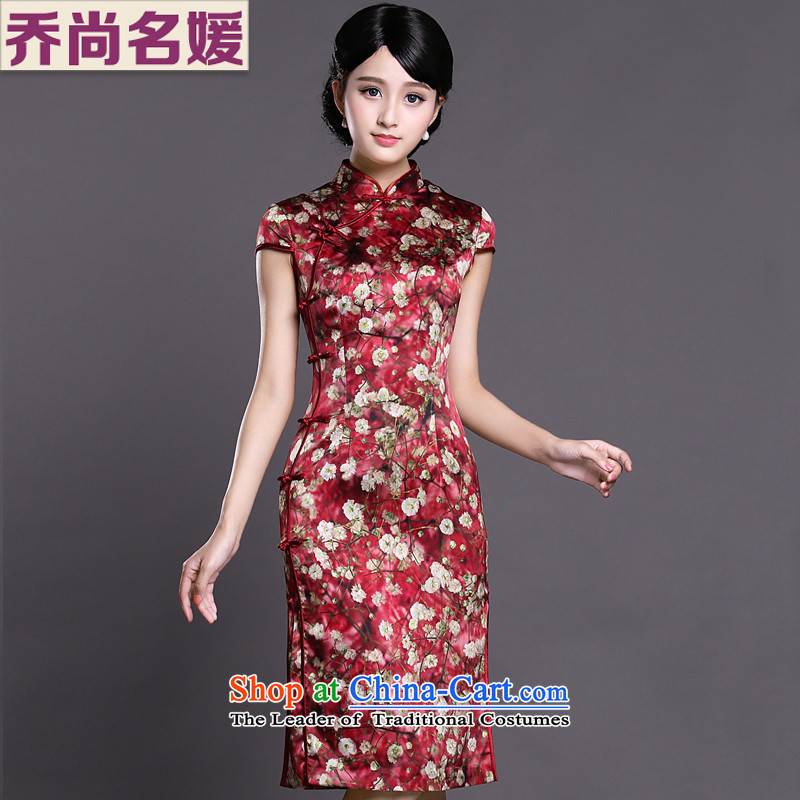 Joe was aristocratic silk cheongsam dress wedding dresses ZS037 summer chinese red聽S