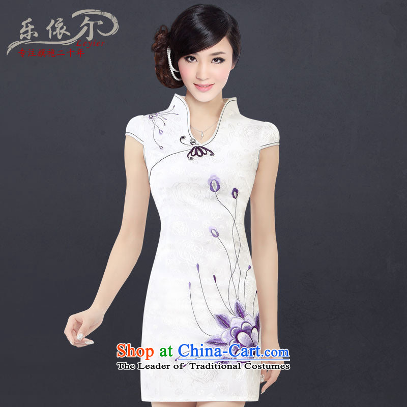 In accordance with the American, embroidered short sleeves cheongsam retro landscapes modified Sau San cheongsam dress LYE1301 female White XXL