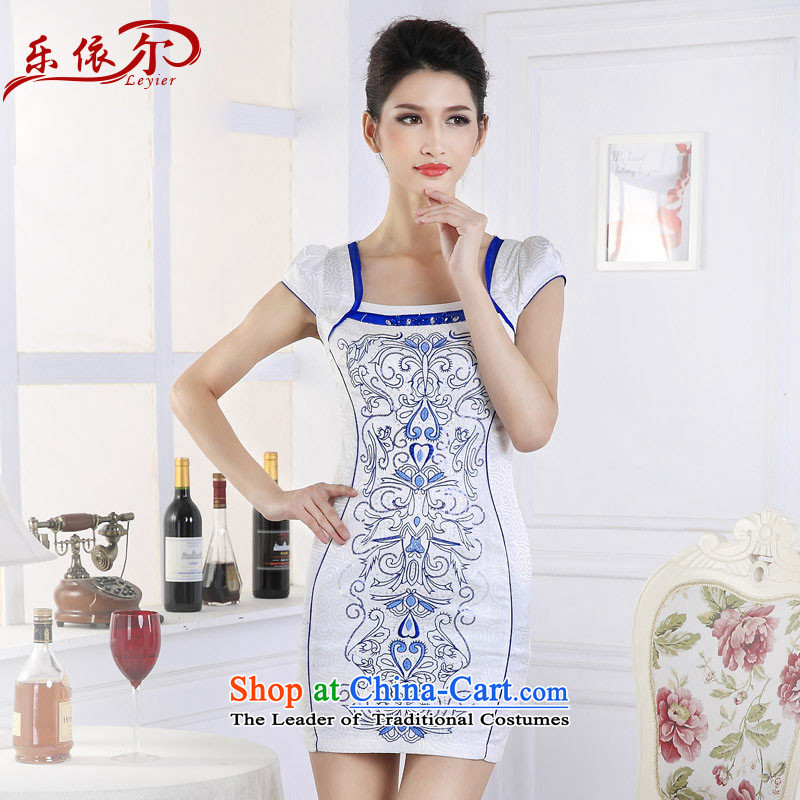 In accordance with the American Women's retro embroidery cheongsam dress classical embroidery short-sleeved qipao ethnic LYE66661 drill set blue flowers L