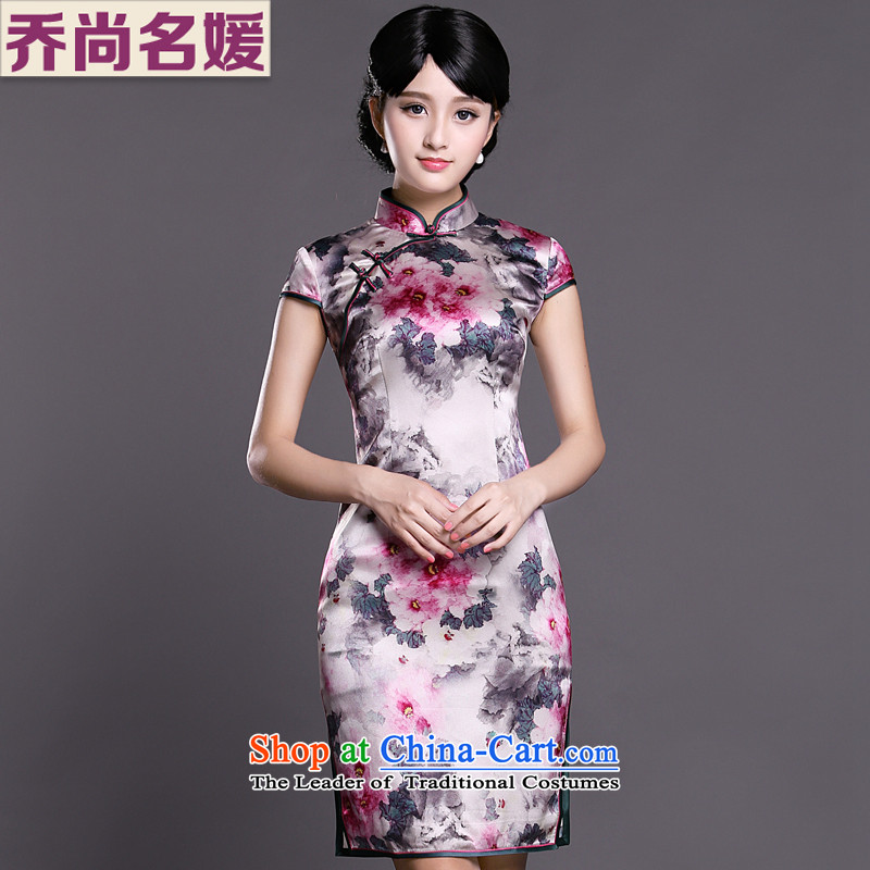 Joe was aristocratic ladies cheongsam look like silk improved summer ZS042 White聽M