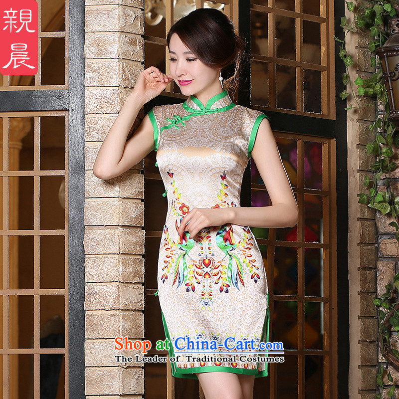 The pro-am daily new improvements by 2015 stylish heavyweight silk cheongsam dress summer short of upscale herbs extract short,聽2XL
