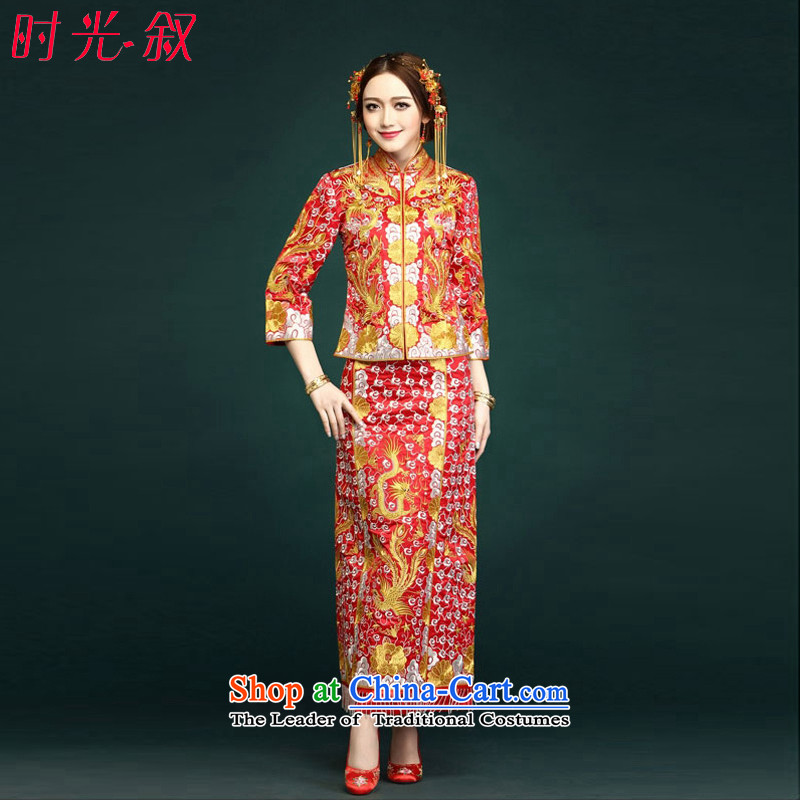 Time the�new 2015 Syria married women of Sau San Feng skirt use gold and silver thread use skirt red dress in five of the bows use larger pregnant women ancient clothing red�L