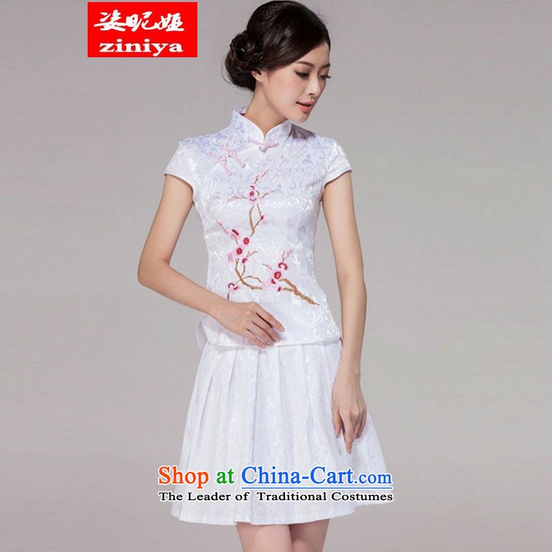 Gigi Lai Young Ah 2015 Spring_Summer Tang dynasty new women's improved daily cheongsam dress elegant and stylish retro look like two Kit White燲L