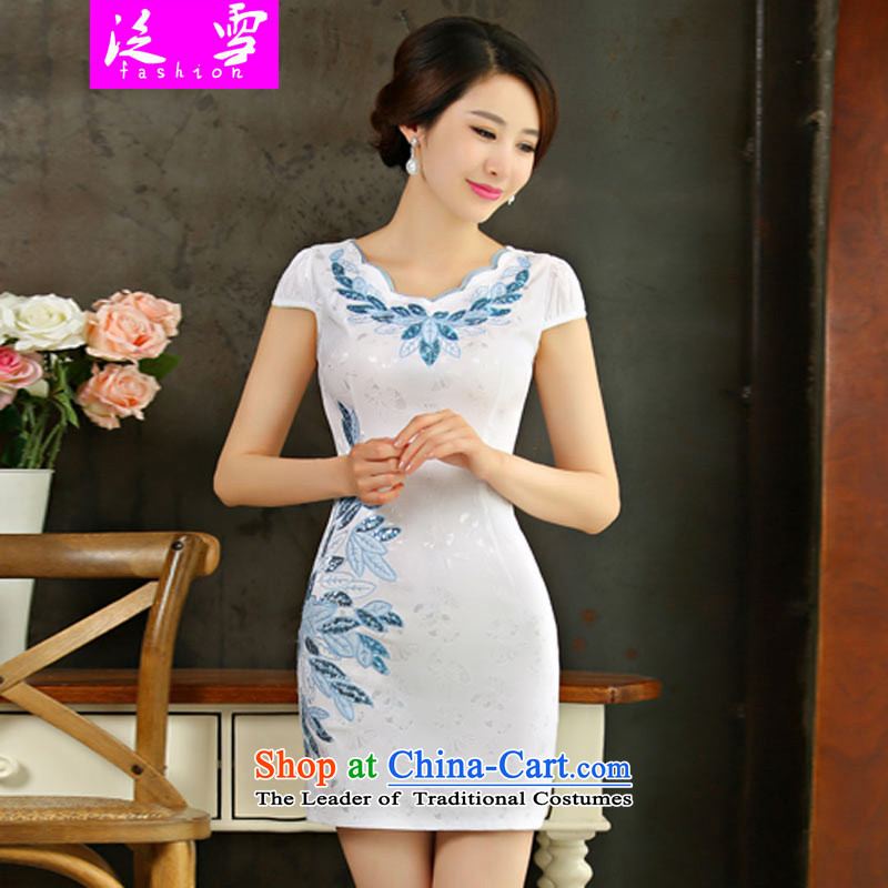 Pan-ICE 2015 Summer new women's cheongsam dress retro-day short of Sau San qipao gown?9001?White?L