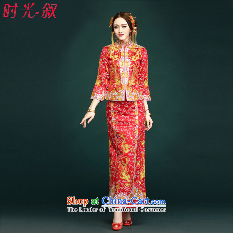 Time Use Su-Reel Dragon Syrian bridal dresses small Wu-fu Chinese Dress retro-soo and wedding dress gold and silver thread use skirt use marriage solemnisation wedding gown costume red XXL