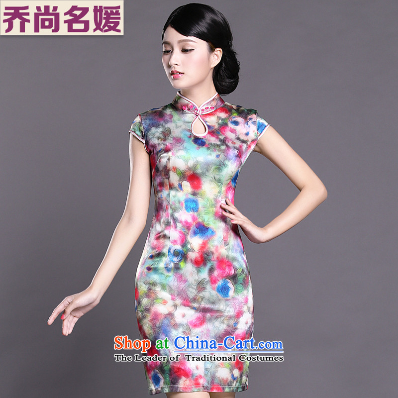Joe was aristocratic ethnic cheongsam dress silk new improved short-sleeved Tang dynasty ZS044 SUIT聽L