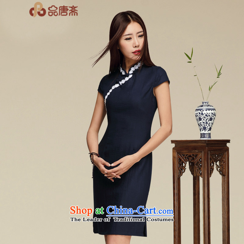 No. of Ramadan cheongsam dress short summer new ethnic retro female cotton linen dresses picture color XL