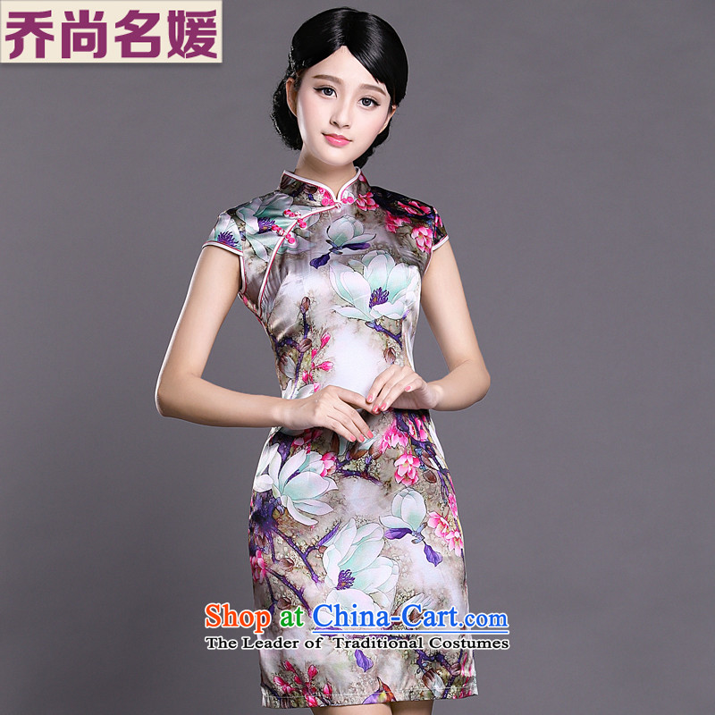 Joe was aristocratic cheongsam dress summer China wind silk new improved Tang dynasty ZS046 RED M