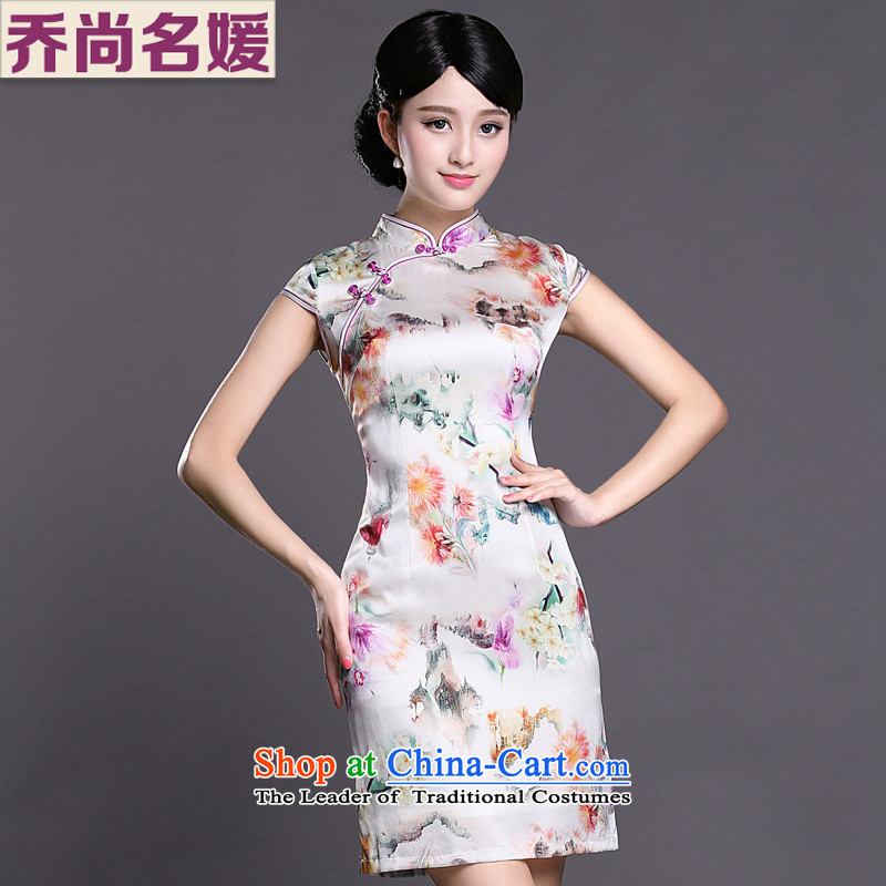 Joe was aristocratic cheongsam dress silk summer temperament new ethnic ZS048 white聽S