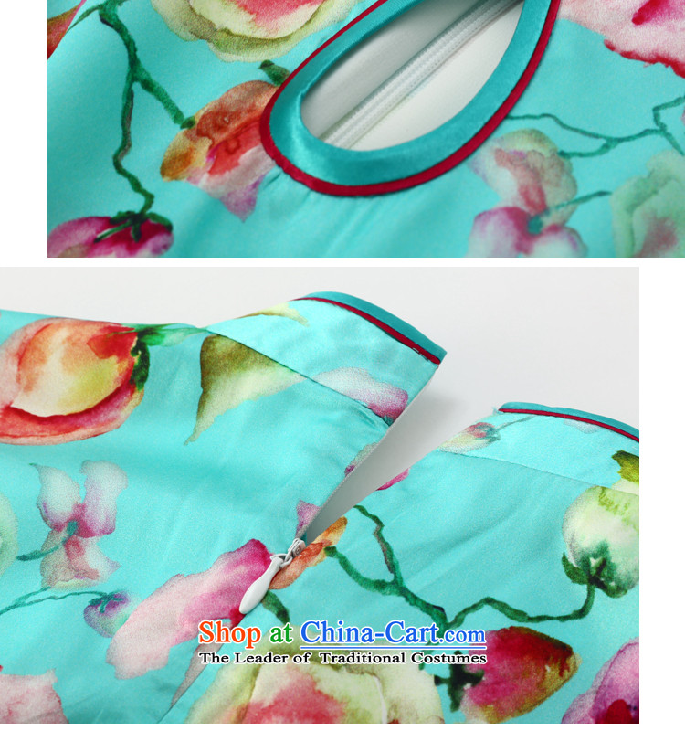 Joe was aristocratic ethnic cheongsam dress silk new summer Chinese Dress ZS056 Blue聽M picture, prices, brand platters! The elections are supplied in the national character of distribution, so action, buy now enjoy more preferential! As soon as possible.