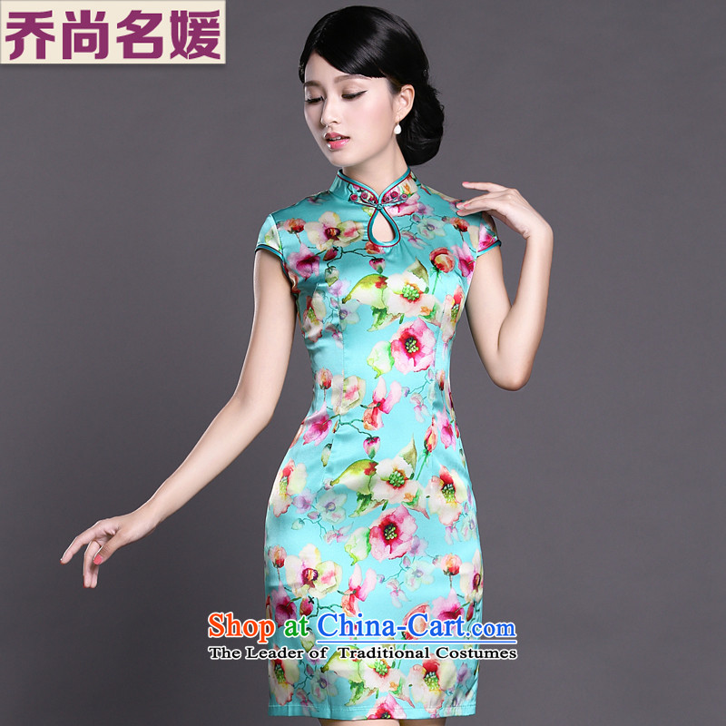 Joe was aristocratic ethnic cheongsam dress silk new summer Chinese Dress ZS056 Blue聽M
