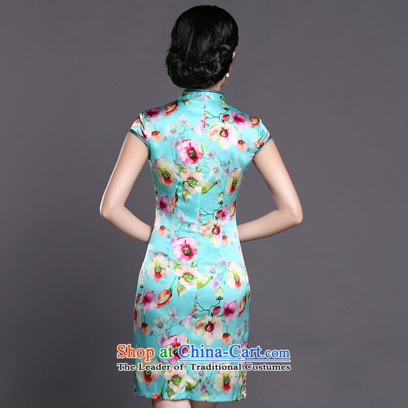 Joe was aristocratic ethnic cheongsam dress silk new summer Chinese Dress ZS056 BLUE聽M,CHOSHAN LADIES,,, shopping on the Internet