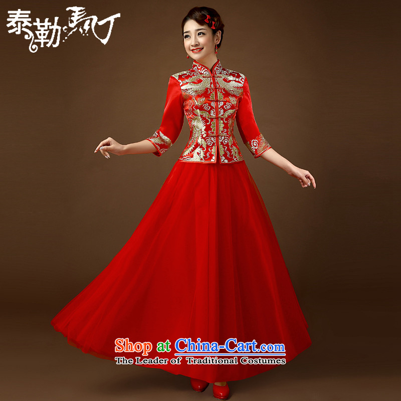 In 2015, Martin Taylor cuff qipao summer wedding video thin large wedding Sau San Code Chinese lace stylish bride long bows services red XL