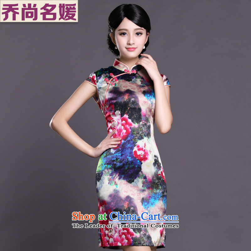 Joe was aristocratic ladies cheongsam look like silk new summer of Chinese Dress ZS057 RED聽XXL