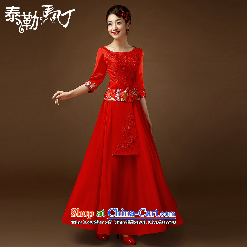 Taylor Martin 2015 wedding dresses spring and summer large Chinese Foutune of Chinese long marriages wedding dresses red dress uniform bows?M