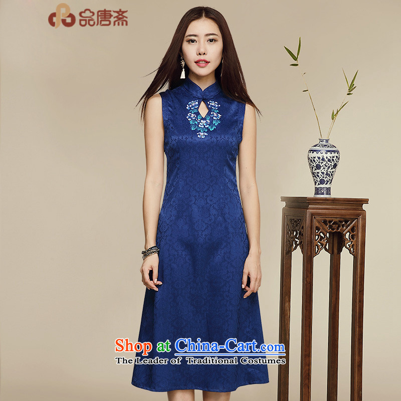 No. Tang Ramadan porcelain cheongsam dress summer new ethnic retro women's sleeveless dresses picture color S