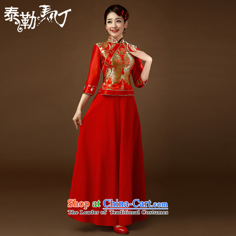 Taylor Martin 2015 Spring/Summer qipao bows services retro style red embroidery long Chinese cheongsam dress marriages wedding red?XL