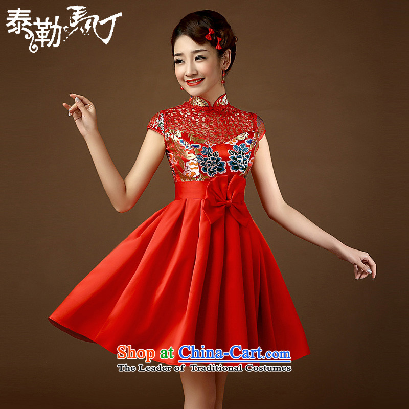 Taylor Martin 2015 improved qipao Stylish retro Foutune of red wedding bride bows large serving Chinese cheongsam dress short-sleeved red L