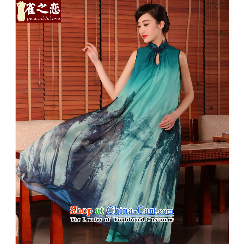 Love of birds Zephyr 2015 new summer loose long skirt fashion style qipao female improved dresses?QD754?Cheong Wa?S yarn