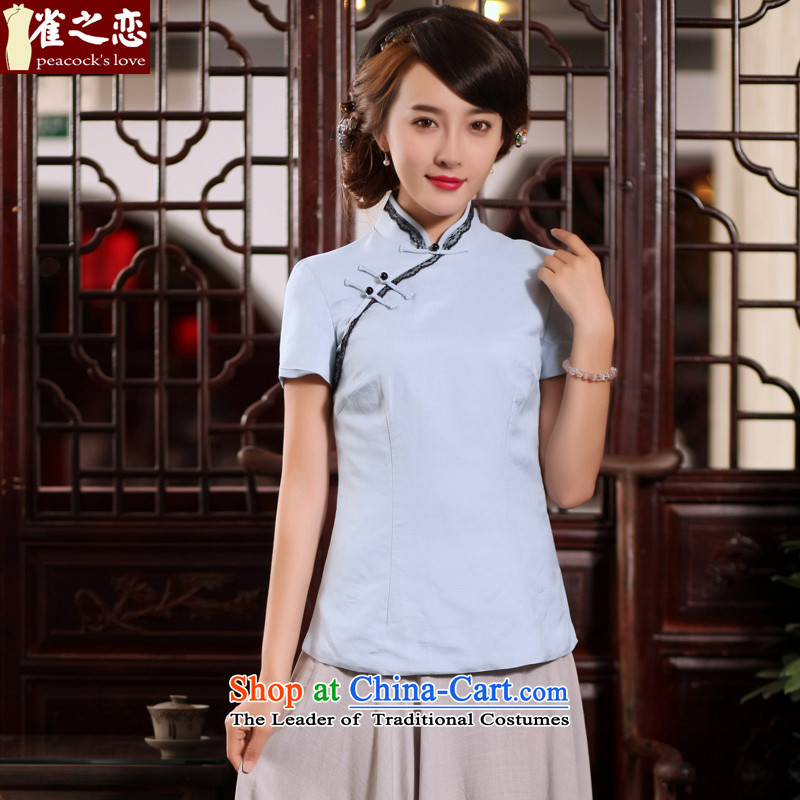 Love of birds light爏ummer poured 2015 new stylish Tang Dynasty Chinese qipao improved short-sleeved T-shirt� QD780 cotton linen dresses燾ool blue燲XL