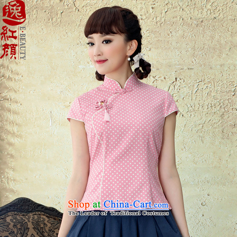 A Pinwheel Without Wind Phthalocyanine chin yat cheongsam Clothes?Summer 2015 ethnic female cotton linen retro qipao shirts Stamp   RED?XL